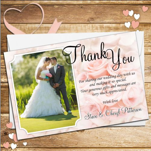 10 Personalised Wedding Pink Roses Thank you Photo cards N113